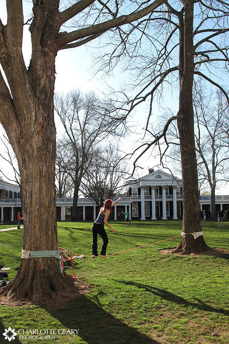 Tightrope walker at the UVA Lawn