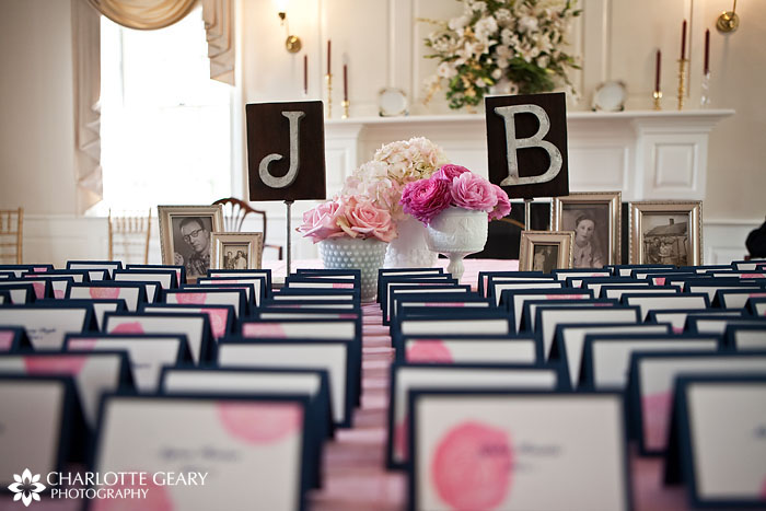 Placecards and monograms at a wedding