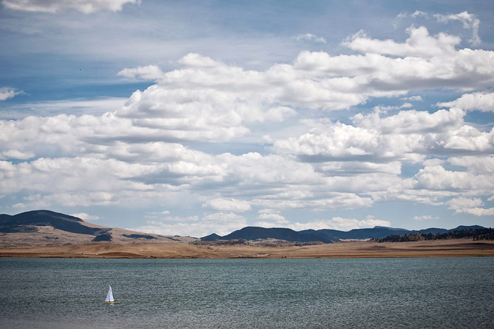 Sailboat at Spinney Mountain Reservoir in Colorado