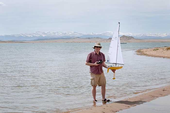 Remote-control sailboat at Spinney Mountain Reservoir in Colorado