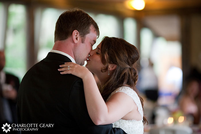 Bride and groom during first dance at a Hillside Gardens wedding