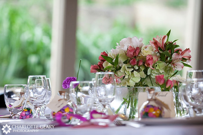 Table centerpiece at a Hillside Gardens wedding
