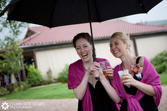 Bridesmaids at a rainy wedding