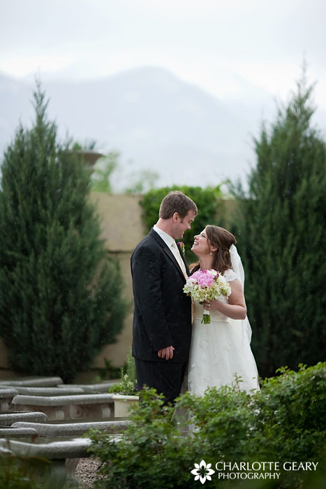 Bride and groom at Hillside Gardens in Colorado Springs