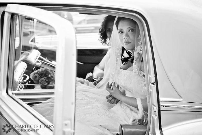 Bride in antique car