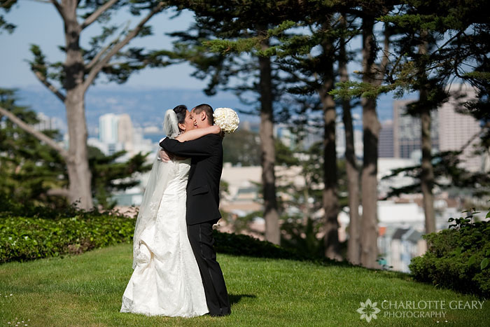 Bride and groom at the University of San Francisco
