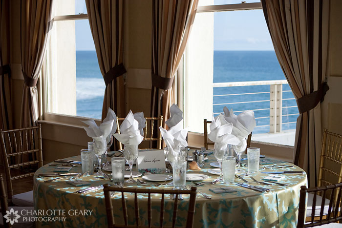 Wedding table settings at the Cliff House in San Francisco