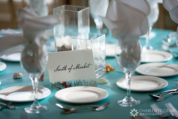 Wedding table numbers with beach theme