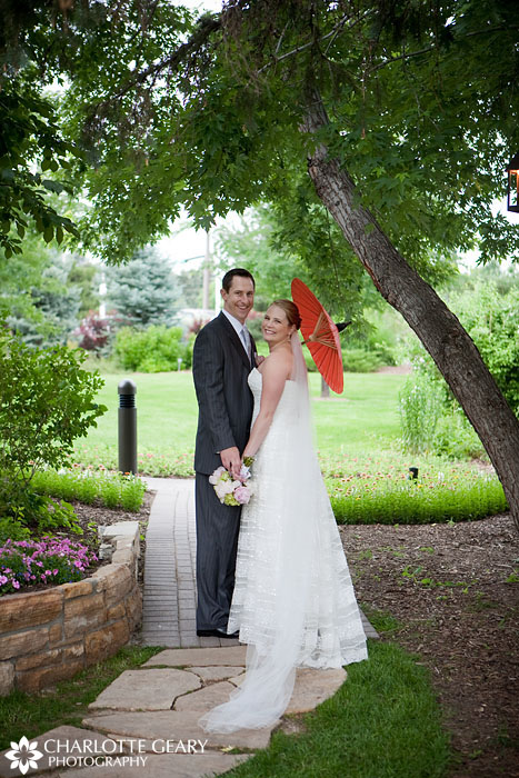 Bride and groom with parasol at Hudson Gardens wedding
