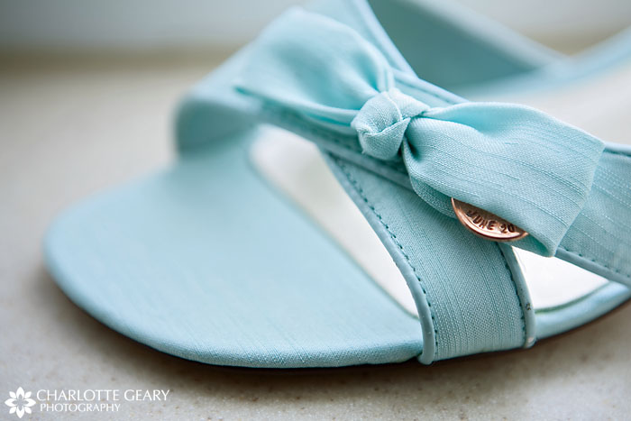 Blue bridal shoes with sixpence