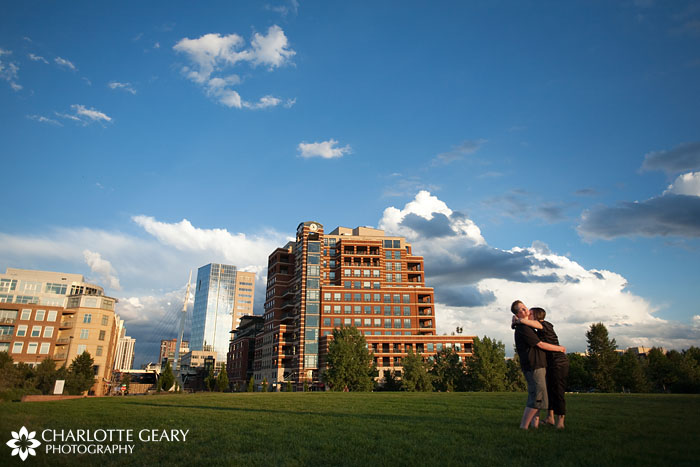 Engagement portrait in Commons Park in downtown Denver