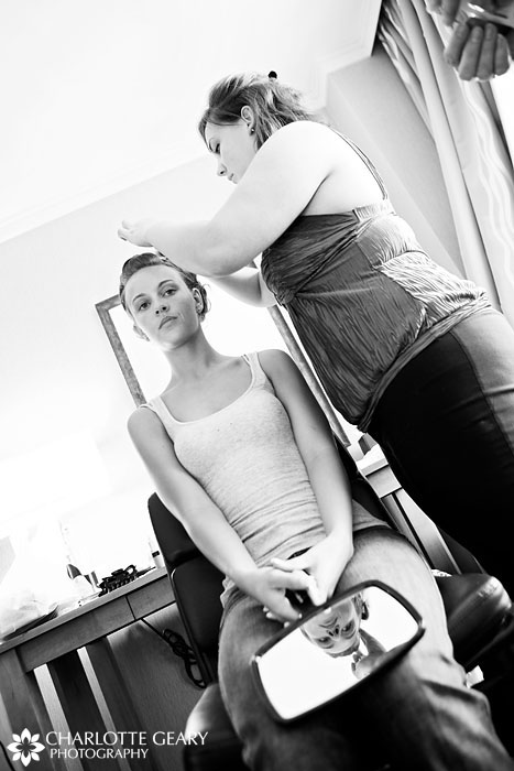 Bride getting ready at the Westin Westminster
