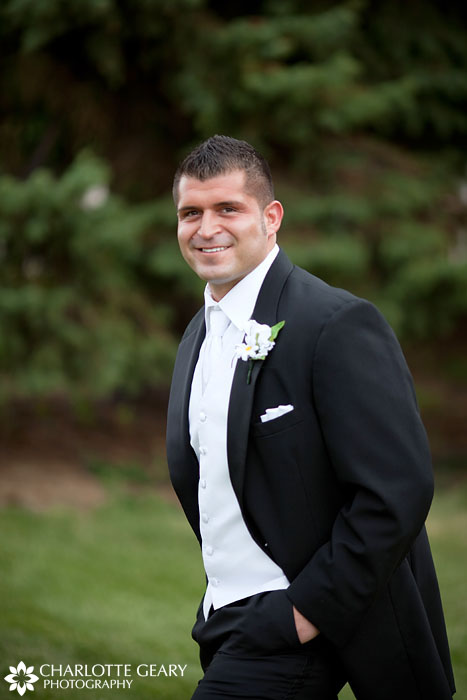 Groom with white boutonniere