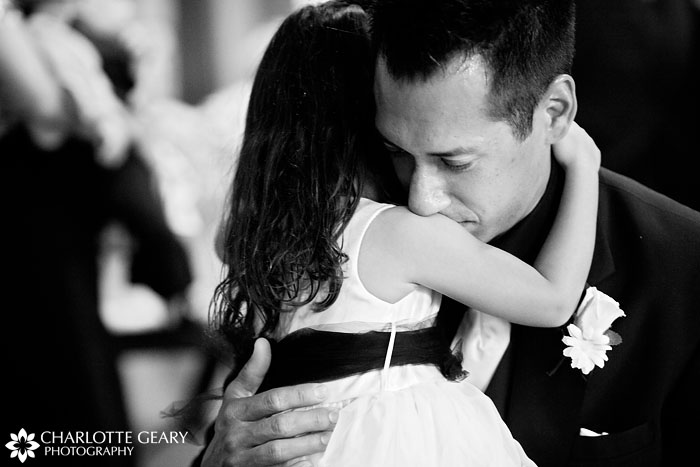Flower girl and her father