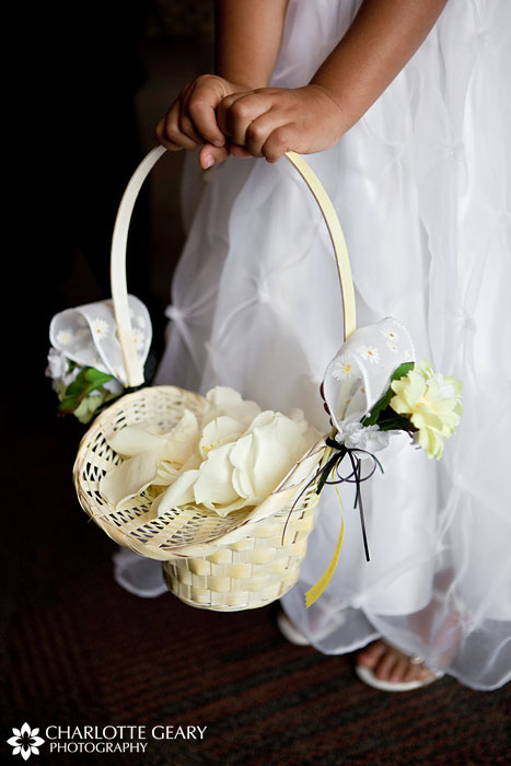 Yellow flower girl basket