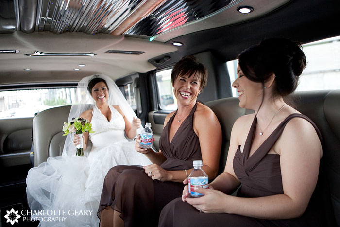 Denver Bride and bridesmaids in limo