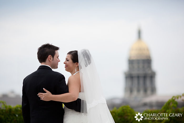 Bride and groom in front of Denver Capitol Building