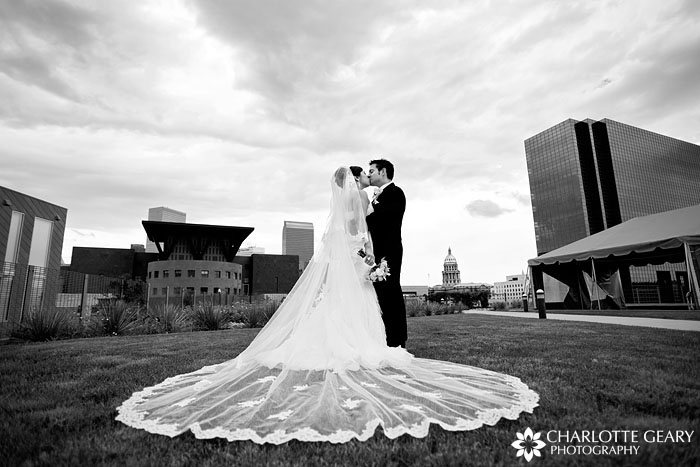 Bride and groom in downtown Denver