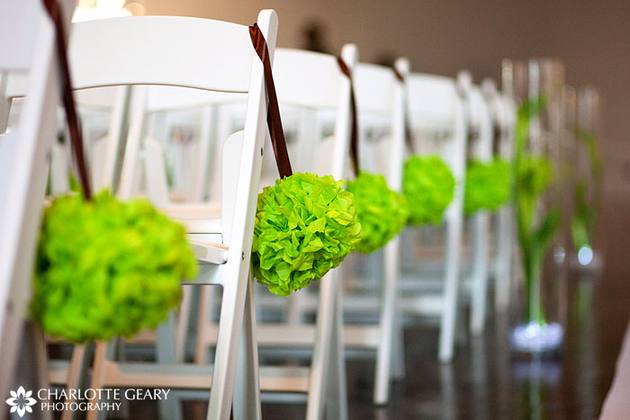 Green and brown wedding decorations