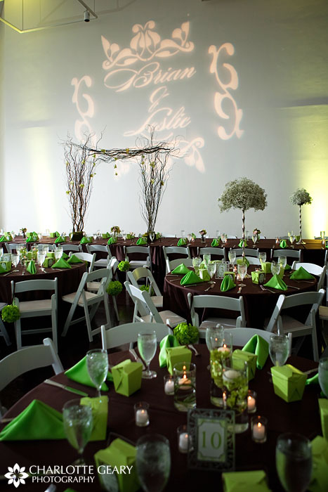 Denver Art Museum wedding reception with green and brown decorations