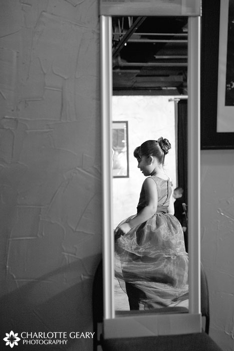 Flower girl getting ready at Mile High Station