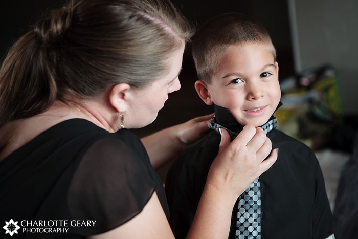 Wedding ring bearer getting ready at Mile High Station