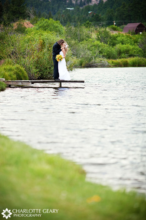 Bride and groom at Lower Lake Ranch in Colorado