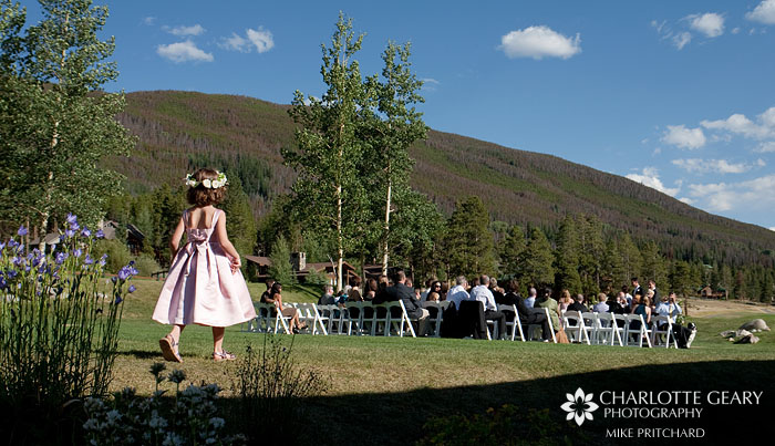 Flower girl in pink dress at Keystone Ranch