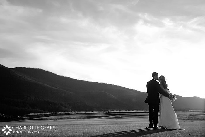 Mountain sunset wedding
