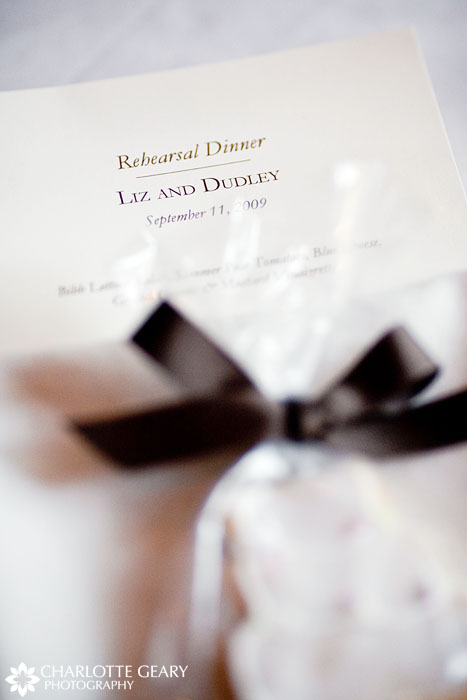 Rehearsal dinner menu and favor