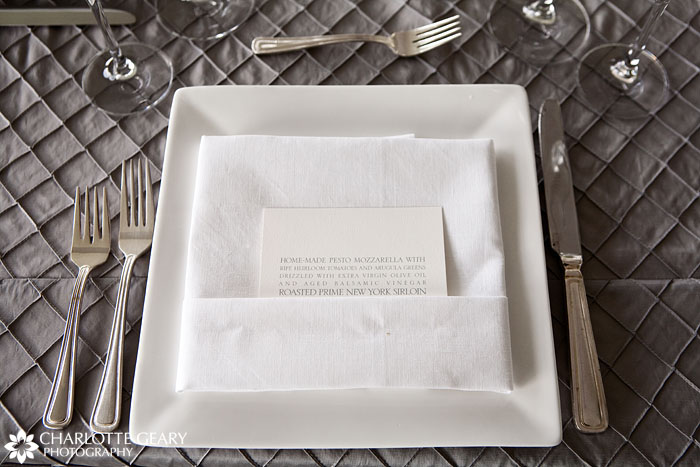 Wedding table setting with menu card