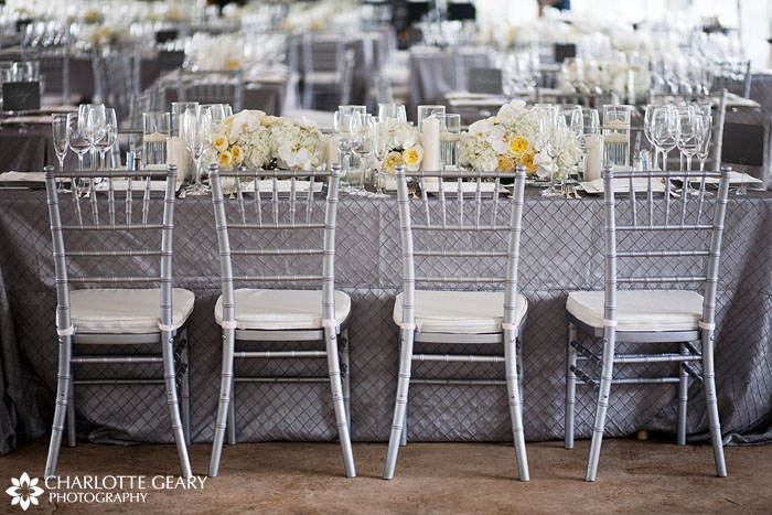Wedding with silver table settings