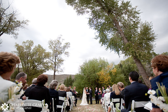 Riverside wedding ceremony at Eagle Springs Golf Club