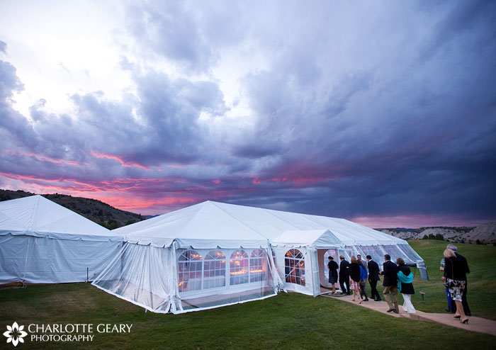 Reception tent at Eagle Springs Golf Club