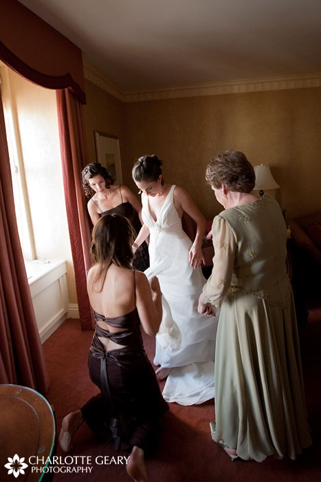 Bride getting ready at the Brown Palace in Denver