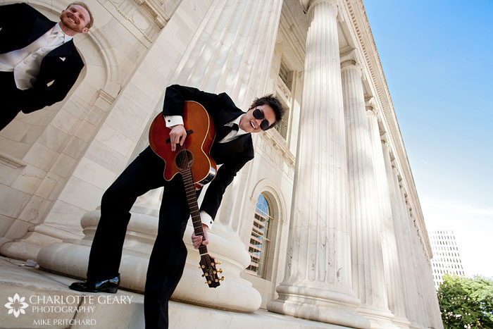 Groomsman with guitar
