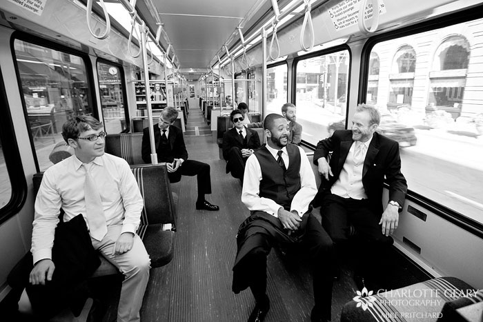 Groom and groomsmen on the Denver Light Rail train