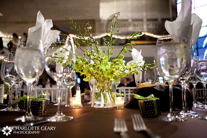 Green centerpiece and brown table linens