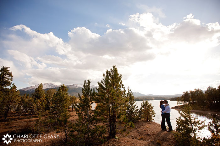 Engagement portrait in front of Pikes Peak