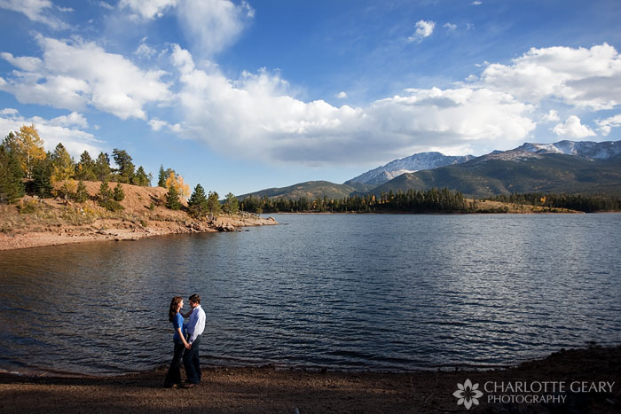 Colorado Springs engagement portrait at a lake