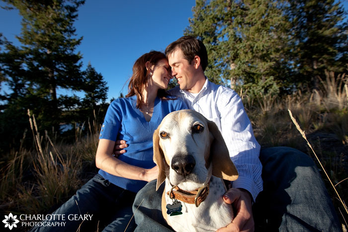 Colorado Springs engagement portrait with dog