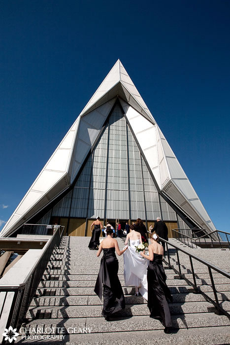 Bride arriving at the Air Force Academy chapel