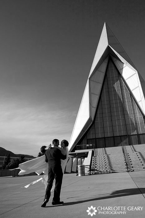 Bride and groom at the Air Force Academy Chapel