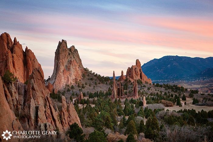 The Garden of the Gods at sunset