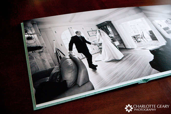Flushmount wedding album with Japanese book cloth cover