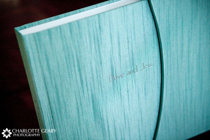 Flushmount wedding album with aqua book cloth cover