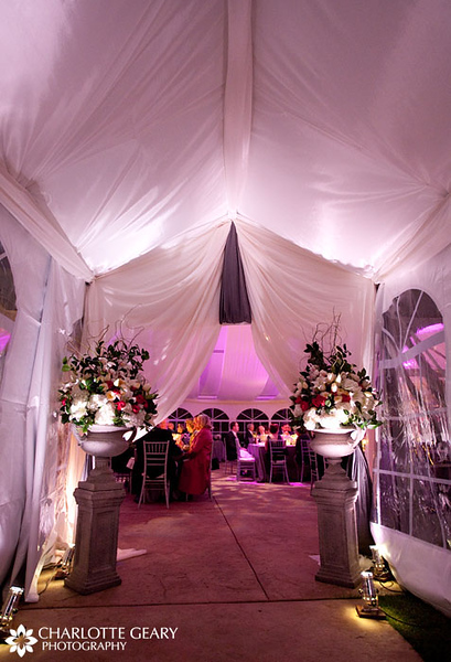 Wedding reception tent entrance